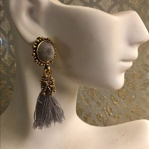 FRINGE is IN! gray and gold dangle earrings